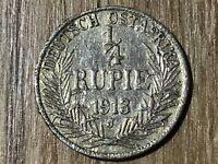1/4 Rupie Deutsch Ostafrika 1913 J #431#