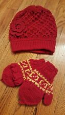 Alpaca Child Children Kids Knit Beanie Hat + Glitten Gloves Red Yellow / Peru