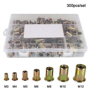 300X Mixed Rivnuts Blind Set Rivet Nuts Kit Threaded Nuts Anti-oxidation M3-M12