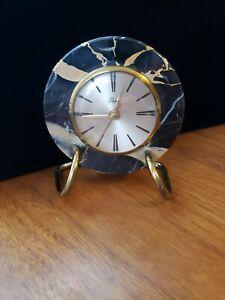 Vintage Art Deco Stone Desk Alarm Clock by Artco Running