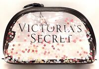 VICTORIA'S SECRET PINK CLEAR WITH SPARKLES WEATHER PROF COSMETIC BAG NEW!