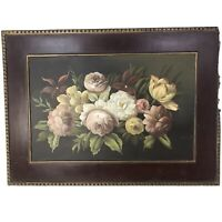 "Vintage Handpainted Floral on Masonboard with Frame 22"" x 16"""