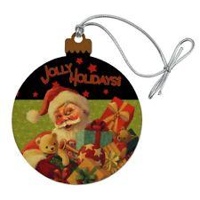 Christmas Jolly Holidays Santa Graphic Wood Christmas Tree Holiday Ornament