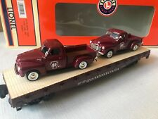 Lionel 1957 NTTM Work Train Flat Car w/ 2 Burgundy Pickup Trucks 6-52271 - NEW