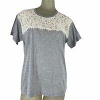 J.Crew woman's shirt top Tee Size medium gray knit Ivory lace New
