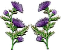 Lavender carnation spray pair flowers floral boho applique iron-on patches S1149