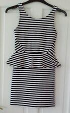 H&M DIVIDED NAVY/WHITE STRIPE PEPLUM DRESS SIZE 10
