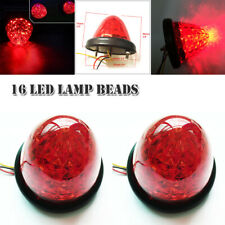 Pair Red Round Beehive LED Marker Lights Clearance Truck Trailer Lamp Universal