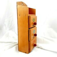 Vintage sewing drawer cabinet thread needles pins wooden organizer floral kitsch