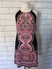 NWT INC Sleeveless Dress Sz PS Pink Black Rhinestone Keyhole New $79 Cocktail