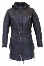Lederparka Herren Ledermantel Lamm Nappa Leder Real Leather Coat Gr. S schwarz