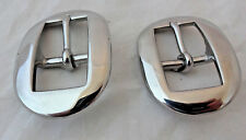 """Pair Long Oval Cart Buckles Horse Headstall Stainless Steel 3/4"""" Weaver Leather"""