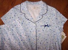 NWT Karen Neuburger $56 DITSY NAVY FLORAL Knit Pajamas BERMUDA Shorts/Top Set S