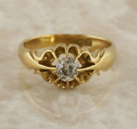 Vintage Diamond Gypsy Ring 18ct Yellow Gold Size O