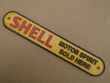"Metal SHELL SIGN petrol oil not enamel 11"" x 2"" Shelf Sign"