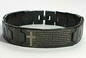 CHRISTIAN Gifts for Him-BLACK Stainless STEEL Bracelet LORD'S PRAYER-GIFT BAG