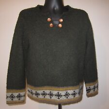 Sz L Brown Nordic Snowflake Sweater Split Neck Wood Buttons Christopher n Banks