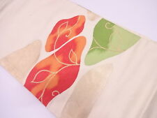 ANTIQUE JAPANESE NAGOYA OBI FOR KIMONO, BEAUTIFUL CRAFT MATERIAL, ABSTRACT, SILK