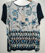 Monsoon Alicia Floral Navy Mix Stretchy Top Size 22 Bnwt Multi Coloured