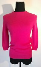 TALBOTS PETITES Crew Neck Sweater Women Size M P Solid Hot Pink  100% Cashmere