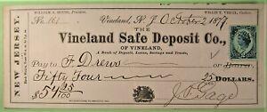 Bank Check, Vineland Safe Deposit Co, Vineland, NJ, 1877, Blue revenue.
