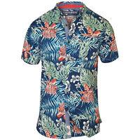Mens Hawaii Shirt D555 Duke Short Sleeved Floral Leaf Print Big King Size Summer