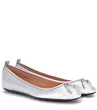 Tod's 220 Silver Tone Metallic Leather Ballerina Flats 41 / US 11
