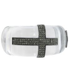 NEW Clear Plastic Hematite Sideways Cross Hinged Cuff Bracelet