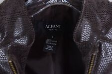 Ladies Alfani Leather Brown Snake Print Jacket Brown Petite Large PL NWT