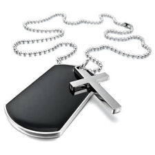 "Alloy Pendant Necklace Black Silver Cross Dog Tag plate Army Style 23"" A9L1"
