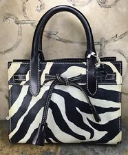 Dooney And Bourke Black White Leather Zebra Mini Tote Purse Shoulder Bag Handbag