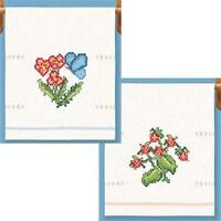 FLORAL ENCHANTMENT Flowers TOWELS Cross Stitch KIT  NEW