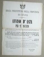 """MANIFESTO ORIG. """"REGIA PREFETTURA DELLA PROVINCIA DI CATANIA"""", 28 GENNAIO 1867"""