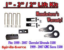 """1999 - 2006 CHEVY GMC 1500 Sierra 1 - 3"""" Keys + Extenders + 2"""" Rear Block"""