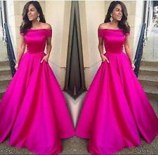 Hot Pink Short Sleeve Formal Evening Dress Party Pageant Prom Gowns Custom