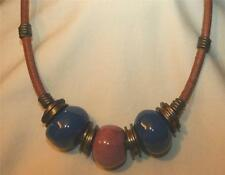Handsome Chunky Cadet Blue and Salmon Glass Beaded Suede Cord Choker Necklace