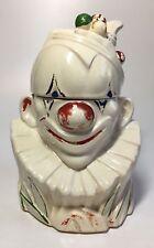 Vintage 1940s McCoy Pottery Clown Bust Cookie Jar Snack Ceramic Biscuit Canister