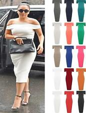New Womens Off Shoulder Bodycon Dress Ladies Evening Party Cocktail Midi Dresses