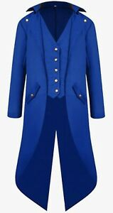 Banned Men's Steampunk Tailcoat Jacket Blue Gothic Victorian Coat