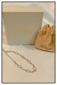 ASHLYNN AVENUE - DELPHINA 18K WHITE-GOLD PLATED LINK BRACELET (Retail: $190)