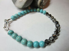 Handmade Turquoise beads 925 Silver Bracelet made with Swarovski Elements