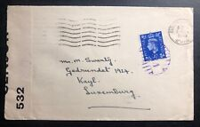 1940 Sutton Coldfield England Commercial Censored Cover To Kayl Luxembourg
