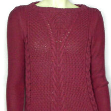 Banana Republic Womens S Chunky Cable Knit Sweater Raspberry Pink Boat Neck
