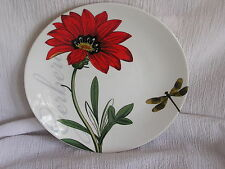 Pier 1 One Imports Porcelain Red Gerbera Flower Dragonfly Salad Dish Plate CUTE