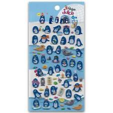 ✰ CUTE PENGUIN JUICE BAR GEL STICKERS Sheet North Pole Kid NEW Scrapbook Sticker