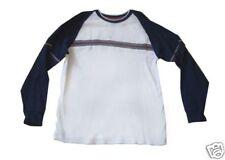 Boys size Medium white/navy long-sleeve shirt gent-used