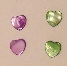3 ciondoli in madreperla cuori medi verdi 1,8 cm marroni bigiotteria