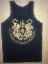Yoga Men Tank Top shirt Tigers Zodiac Thailand Hindu Buddha Om Hobo new L cotton