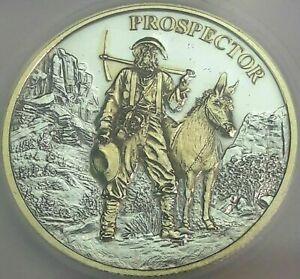 PROSPECTOR .999 SILVER ROUND GOLD GILDED PRISTINE ICG PROOF LIKE GENUINE #5