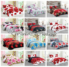 Duvet Cover with Pillow cases & Fitted Sheet Bedding Set 3D Effect Floral Print